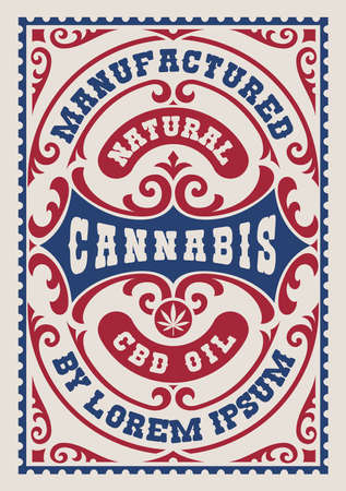 a vintage label for a cannabis theme, this design can be used as a template for a package Ilustração