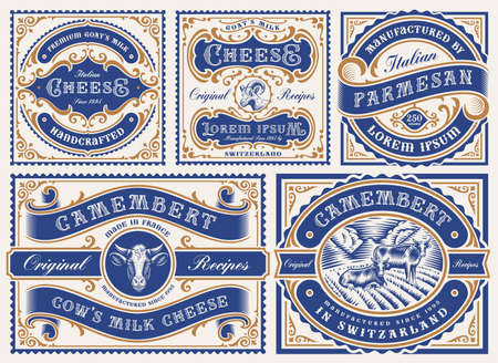a set of vintage editable cheese labels, all elements are in separate groups and editable.