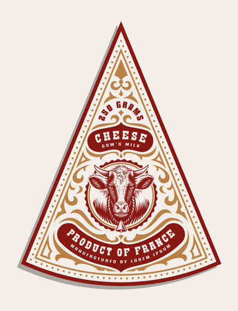 a vintage cheese label template, all elements are in the separate group and editable Ilustração