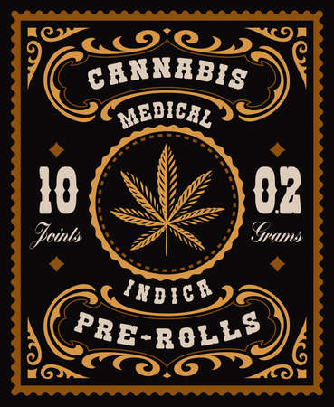 a vector cannabis label in vintage style, this design can be used as a package for different marijuana products
