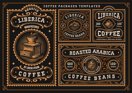 A bundle of vintage coffee labels, these designs can be used as coffee packages in retro style