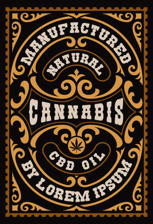 a vintage label for a cannabis theme, this design can be used as a template for a package of different marijuana products