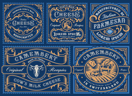 a big bundle of vintage editable cheese labels, all elements are in separate groups and easily editable