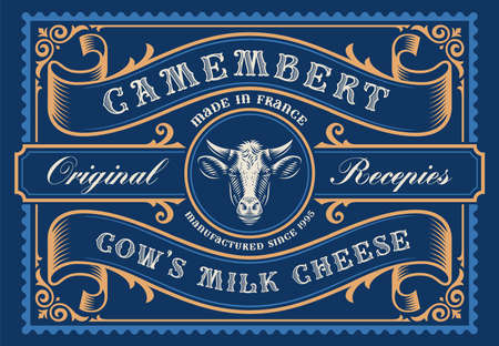 a rectangular cheese package template in vintage style, all elements are in the separate group and editable.