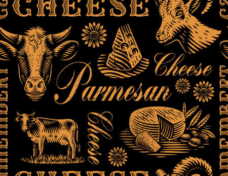 A vintage seamless background for a cheese theme, this design can be used for cheese packages or as a wallpaper.