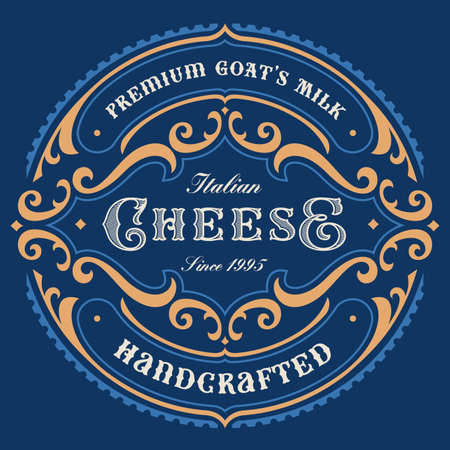 a vintage round cheese label, this design can be used as a template for a package.