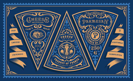 a bundle of vintage cheese labels, all elements are in separate groups and easily editable
