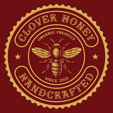 a round honey label in vintage style, this design can be used as a template for a honey package