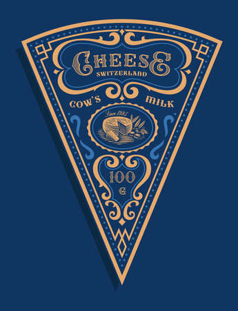 a triangular cheese label in vintage style, this design can be used as a package for a triangular piece of cheese Ilustração