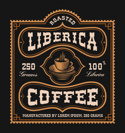 a vintage coffee label, this design is perfect for a coffee package Ilustração