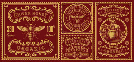 a set of vintage honey labels, these design can be used as packages for different honey products
