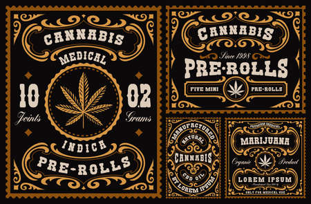 a bundle of vintage labels for cannabis theme, these designs can be used as templates for different marijuana products such as cannabis pre-rolls, CBD oil, and many others