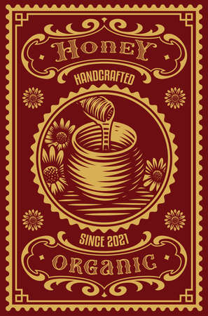 a vintage honey label, this design can be used as a template for a home package