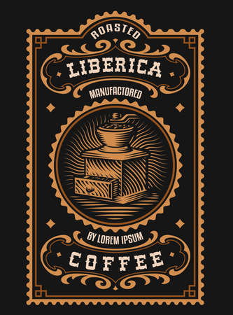 A vintage coffee label, this design is perfect for coffee beans package