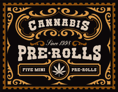 a vintage cannabis label, this design can be used as a template for marijuana products such as cannabis pre-rolls, CBD oil, and many others
