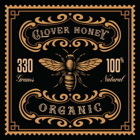 a honey label in retro style, this design can be used as a honey package. Ilustração