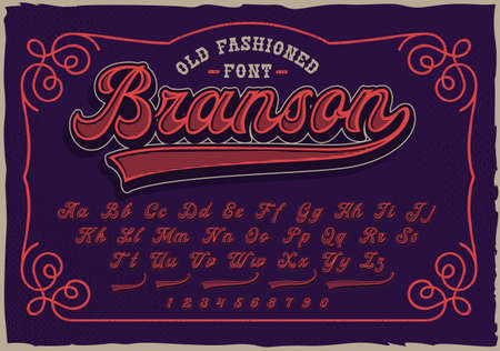 A retro script font. This font will be perfect for short phrases, emblems, shirt prints and many other uses.