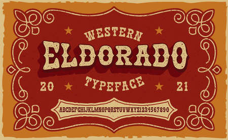 A vintage serif font in western style. This font looks better for short phrases, headlines and can be used for many creative products, such as shirt prints, alcohol labels, and many other uses Ilustração