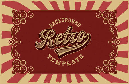 Vector retro background, all elements are in separate groups.