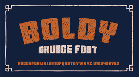 bold grunge font in retro style. this font is perfect for short phrases and headlines and can be used for many products such as alcohol labels, posters, and for many other uses