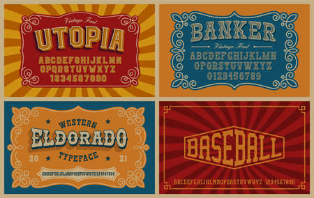 A bundle of vintage fonts. These fonts are perfect for short phrases or headlines and can be used for many creative products such as alcohol labels, emblems, posters, and many others. Ilustração