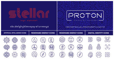 A set of futuristic fonts and icons for such themes as artificial intelligence and renewable energy. Ilustração