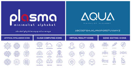 A set of futuristic fonts and icons for such themes as artificial intelligence, virtual reality, cloud computing, and gene editing.