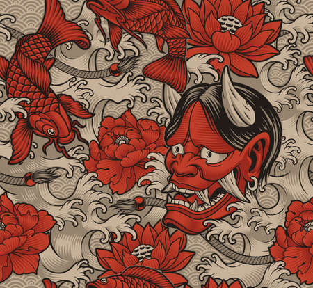 Seamless background in Japanese style with koi fish, Oni demon, and Japanese waves, this design can be used as a print for fabrics, phone cases, and many other creative products in the Japanese style