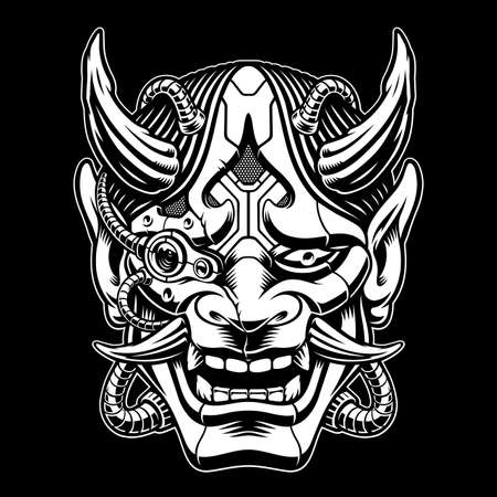 black and white vector illustration of a samurai mask in cyberpunk style with pipes and different mechanisms, this image can be used as an emblem or as a shirt print