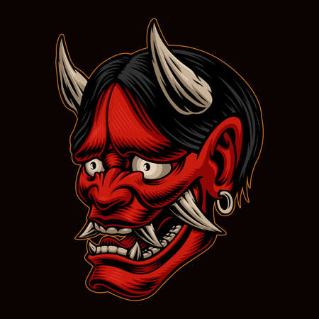 Japanese Oni demon vector illustration isolated on dark background. This illustration can be used as an emblem or as a shirt print Vector Illustratie