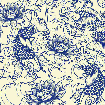 Seamless background with koi fish, waves, and flowers in Japanese style. this design can be used as a print for fabric as well as for many other creative products Ilustração