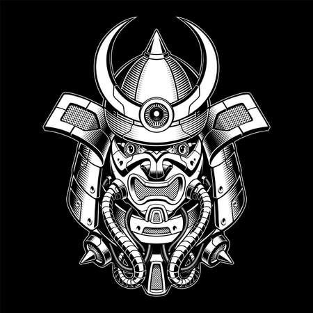 black and white vector illustration of robot samurai, this design can be used as shirt print Ilustração