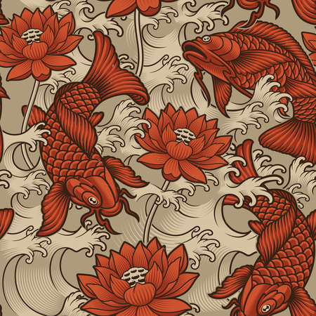 Seamless background with koi fish Japanese style. This design can be used as a print fabric as well as for many other creative products Ilustração