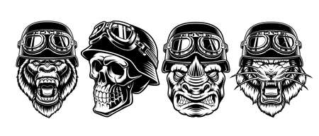 A set of black and white biker characters isolated on white background