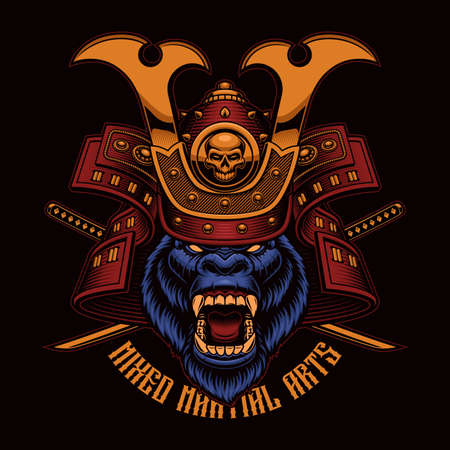 Colorful vector illustration of a gorilla samurai, this design can be used as a t-shirt print