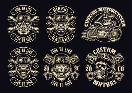 A set of black and white biker illustrations, these designs can be used as emblems for a motorcycle club, as shirt prints as well as for many other uses.