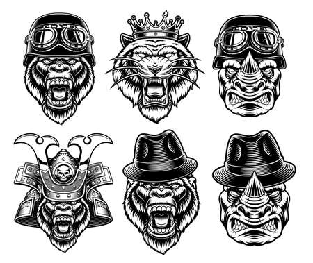A set of black and white animal mascots in different headdress on white background
