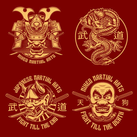 A set of black and white samurai-themed illustrations, these designs can be used a shirt prints, translation of Japanese characters in the file layer name