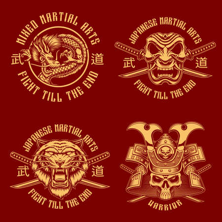 Samurai black and white badges, these designs can be used a shirt prints, translation of Japanese characters in the file layer name Ilustração