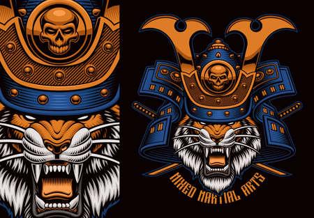 Colorful t-shirt print of a tiger samurai