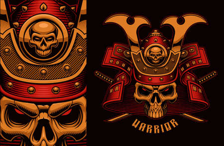 Vintage vector illustration of a colorful samurai skull with crossed katana swords, this design can be used as a t-shirt print.