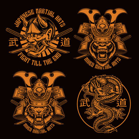 Black and white samurai t-shirt designs, translation of Japanese characters in the file layer name