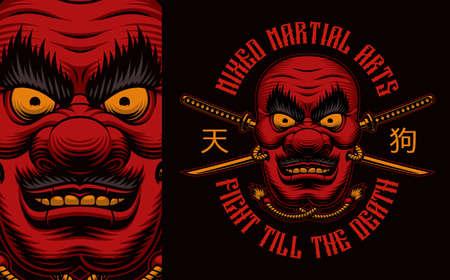 Japanese Tengu mask colorful t-shirt design on a black background