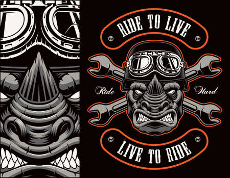 Colorful biker patch with a rhinoceros biker, this design can be used as well as a t-shirt print.