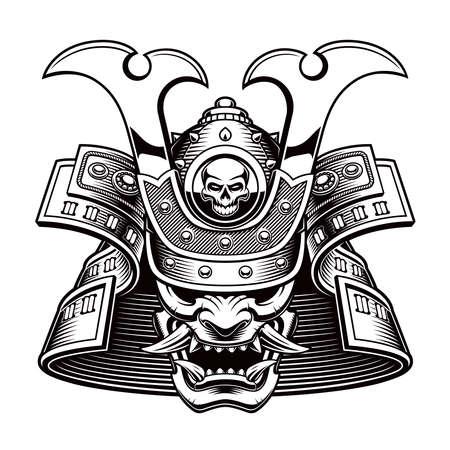 black and white vector illustration of a samurai mask on white background Ilustração