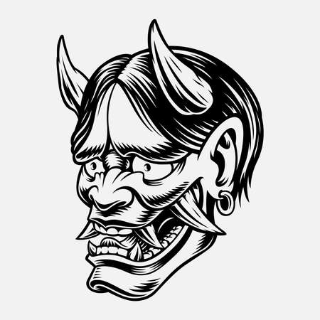 A black and white vector illustration of a Japanese Oni Demon