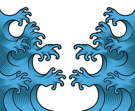 A vector illustration of japanese waves on white background