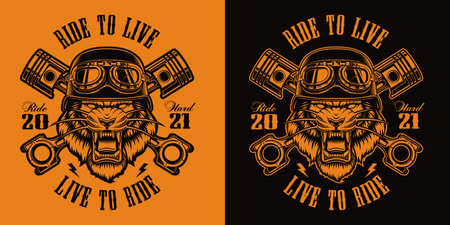 Black and white t-shirt design of a tiger biker with crossed pistons