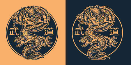 A black and white illustration of an Asian dragon, this design can be used as shirt print, translation of Japanese characters in the file layer name