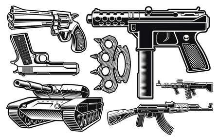 Set of black and white vector illustration of different weapon isolated on white background Vektoros illusztráció